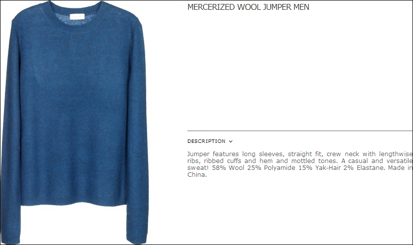 sweater - jumper mercerized wool